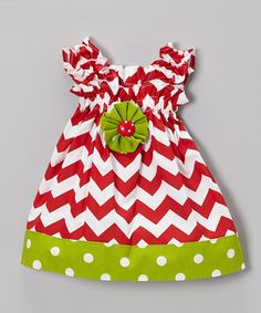 Love this Caught Ya Lookin' Red & Green Chevron & Polka Dot Dress - Infant & Toddler by Caught Ya Lookin' on #zulily! #zulilyfinds