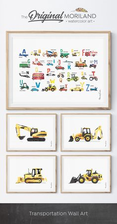 Digger Print, Construction Art Print, Toddler Boys Room Decor, Alphabet, ABC, Truck Print, Transportation Wall Art, Birthday Printable, Instant Download, Watercolor, Yellow, Wall Decor, Ideas, Bedroom, Playroom, Printable, Birthday Party Decorations, Edible Paper for Cake, DIY, Signs, By MORILAND Wall Art