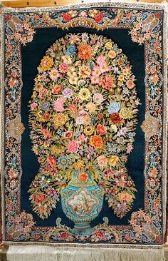 Qum Silk Persian Rug   Exclusive collection of rugs and tableau rugs - Treasure Gallery You pay: $6,900.00 Retail Price: $9,900.00 You Save: 30% ($3,000.00) Item#: CS-Q9 Category: Small(3x5-5x8) Persian Rugs Design: Flower Vase Size: 100 x 150 (cm) 3' 3 x 4' 11 (ft) Origin: Persian, Qum (Qom) Foundation: Silk Material: Silk Weave: 100% Hand Woven Age: Brand New KPSI: 1000