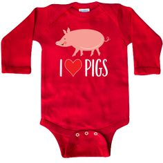 Cute pig Long Sleeve Creeper for lovers of these fun farm friends or a bacon lover too. $21.99 www.homewiseshopperkids.com