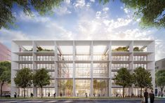 Foster + Partners Design Open Office Building in Luxembourg, Belval Office Building. Image Courtesy of Foster + Partners Building Rendering, Office Building Architecture, Building Exterior, Concept Architecture, Architecture Design, Big Building, Open Office, Open Concept Office, Norman Foster