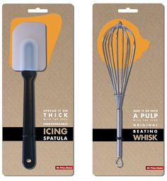 A sleek and simple design with quirky text. The orange shape shows the object you would use the utensil on, and the actual utensil is placed...
