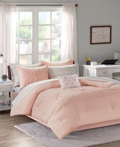 Intelligent Design Twin Embroidered Comforter & Sheet Set in Pink - Olliix Intelligent Design Toren Comforter and Sheet Set flaunts a casual elegance to glamorize your space. Alluring pleats with embroidery adorn the top of the vibrant pink c Full Comforter Sets, Twin Comforter Sets, Bedding Sets, Grey Comforter, Duvet, Intelligent Design, Pink Bedding, Throw Pillows Bed, Space Furniture