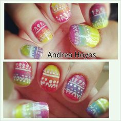 Rainbow ombre with tribal stamp