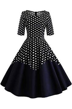 Kids Teen Girl Vintage Robes 1950 S Rétro Sans Manches Imprimé à Pois Robe Décontractée