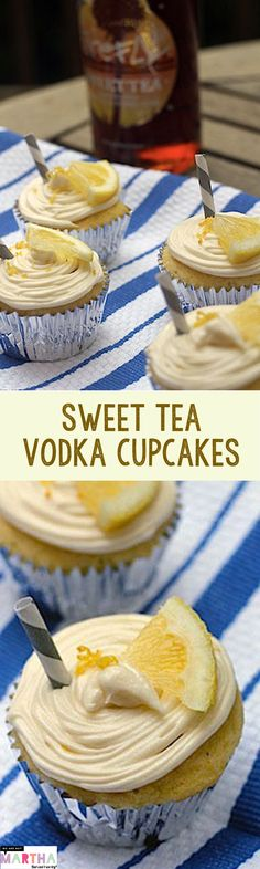 Sweet Tea Vodka Cupcakes -- This Firefly vodka cupcake recipe makes the perfect summer treat Vodka Cupcakes, Alcoholic Cupcakes, Alcoholic Desserts, Yummy Cupcakes, Drunken Cupcakes, Whiskey Cupcakes, Champagne Cupcakes, Pumpkin Cupcakes, Vanilla Cupcakes