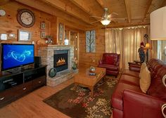 Morning View -- Grab a bag of popcorn and enjoy a movie on your flat screen TV while you sit in front of the fireplace.