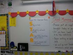 The red swag across the top is cute Clutter-Free Classroom: Hollywood Theme Classrooms Edition} Circus Theme Classroom, Stars Classroom, Classroom Rules, Classroom Design, Future Classroom, School Classroom, Classroom Organization, Classroom Decor, Movie Classroom