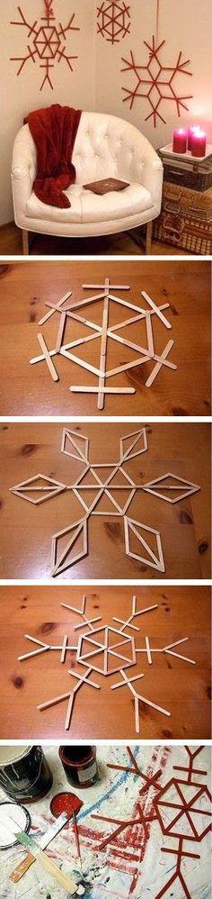 Popsicle stick snowflakes!