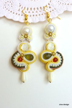 Long Soutache Earrings with Pearls and Mother by ZinaDesignJewelry, $70.00