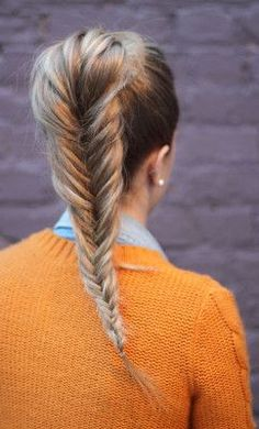 High pony w fishtail braid
