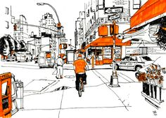 Street drawing. It's a nice idea. Take a scenery and sketch it. Pick a color and colour only that in.