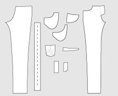 Drawing of Sewing Pattern Pieces for the Jeans PDF Sewing Pattern 948