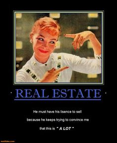 "REAL ESTATE - He must have his license to sell because he keeps trying to convince me that this is ""A LOT"""