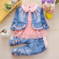 Baby Girl Toddler Denim Coat + Cotton Lace Shirt + Jeans Clothes Outfit Set – Outfit Ideas for Girls Toddler Fashion, Fashion Kids, Fashion Clothes, Fall Fashion, Fashion Outfits, Kids Outfits, Cute Outfits, Baby Outfits, Baby Girl Dresses