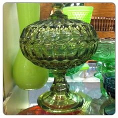 Green Glass Thumbprint Bowl Stand by promoboostme on Etsy