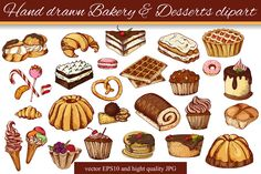 Hand drawn Bakery&Dessert clipart by astartejulia7893 on @graphicsmag