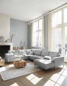 Calira corner sofa from € Profijt Meubel ⋆ Löwik Meubelen Home Living Room, Living Room Designs, Living Room Decor, Living Spaces, Interior Wall Colors, Interior Design, Style Salon, Modul Sofa, Small Room Bedroom
