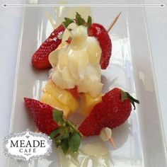Visit Meade Cafe for our mouth watering desserts. We have loads of healthy, but tasty, options as well. Fruit Salad, Strawberry, Tasty, Healthy, Desserts, Food, Tailgate Desserts, Fruit Salads, Deserts