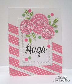 washi tape, Paper Smooches: dots die, SSS: Best Mom Ever flowers, Lil Inker Spot On (sentiment), sending hugs Design Tape, Washi Tape Cards, Sending Hugs, Paper Smooches, Thing 1, Card Sketches, Card Tags, Journal Cards, Flower Cards