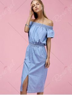 Stylish Off The Shoulder Short Sleeve Slit Dress For Women