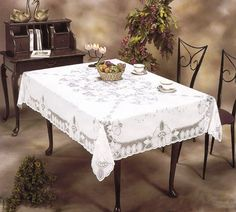 VINYL LACE EMBOSSED TABLECLOTH WHITE - $5.99
