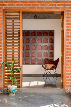 Even the furniture and the fixtures have been carefully selected to match the Indian aesthetic, for example the Anglo Indian Handi lamps in hanging in the courtyard and the swing in the covered terrace area. Home Room Design, Home Interior Design, Interior Decorating, House Design, Interior Ideas, Screen House, Traditional Style Homes, Door Design, Entrance Design