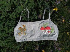 Mushroom Bralette   #handmade #embroidered #mushroom #fungi #bralette #bra #to buy #etsy