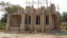 "The Making Of The ""Anambra 5 Bedroom Duplex"" - Properties - Nigeria Concrete Block Foundation, Duplex House Design, Living Room Windows, Block Wall, Iron Work, Village Houses, Concrete Blocks, Very Merry Christmas, Wall Design"