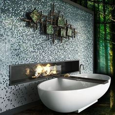 Mosaic wall and design elements: even the space of relax can become a unique example of elegance for your home. Mosaic Bathroom, Mosaic Wall, Mosaic Glass, Remodeling Companies, Home Remodeling, Bathroom Remodeling, Sicis Mosaic, Wall Design, House Design