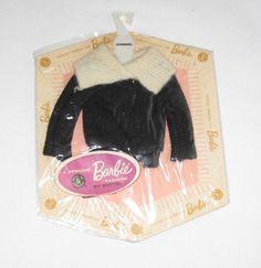 Vintage Mattel Barbie Black Cardigan Sweater MOC MIP AG44