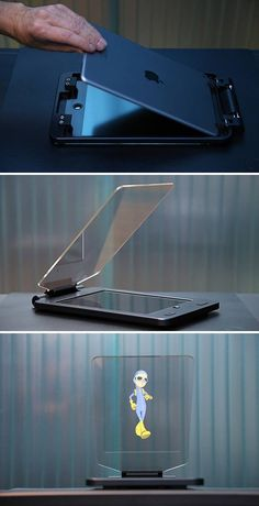 The first of its kind, the Holocube HC Tablet turns your iPad Air 2 into a holographic projector you can use at home. Its magic lies in a transparent synthetic mirror with a solid hinge at a 45 degree angle that captures moving media on the screen, projecting it into thin air. Hit the link to watch it in action!