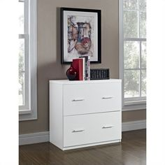 2 Drawer Lateral File Cabinet in White - 9532196