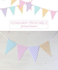 Gingham Printable Pennant Banner