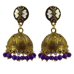 Oxidized gold plated jhumki earrings for women