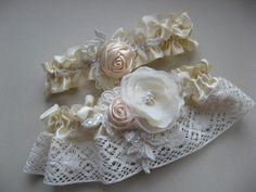Wedding Garter set Ivory Champagne Pale shabby chic rustic  vintage inspired Ivory Lace on Pale Yellow Band with Pearl Rhinestone