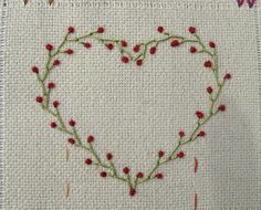 Heart made of Feather stitch and Colonial Knot