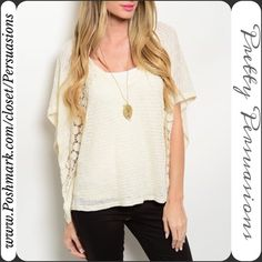 """NWT Boho Crochet Inset Batwing Fluttery Sleeve Top NWT Boho Batwing Crochet Inset Fluttery Top  ** Please do not purchase this listing. I will make you a personal listing if you'd like to purchase **  Available in sizes: S, M, L  Measurements taken in inches from a size small:  Length: 24"""" Bust: 42""""  Features a scooped neckline, batwing sleeves with crochet accent and a sheer, soft material.   Bundle discounts available  No pp or trades Pretty Persuasions Tops"""