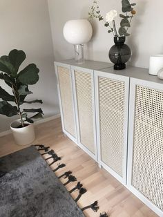 sideboard console made from ikea ivar cabinets and cane panels. trim in white and add gold pull hardware Entryway Decor, Diy Bedroom Decor, Diy Home Decor, Entryway Furniture, Entryway Ideas, Ikea Furniture Hacks, Ikea Hacks, Ivar Ikea Hack, Ikea Billy Hack