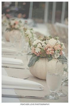white pumpkins w floral centerpiece inside.for table…white pumpkins w floral centerpiece inside.for table…white pumpkins w floral centerpiece inside. Fall Wedding Flowers, Fall Wedding Decorations, Wedding Table Centerpieces, Floral Centerpieces, Wedding Ideas, Table Wedding, Autumn Wedding, Centerpiece Ideas, Wedding Backyard
