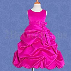 Satin-Dress-Wedding-Flower-Girl-Bridesmaid-Party-Occasion-Age-4-13-Years-034