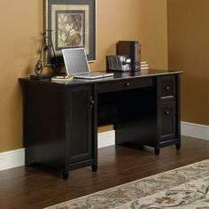 You'll feel like a top executive from the comfort of your home office with the Sauder Edge Water Computer Desk - Estate Black . This engineered wood. Modern Home Office Desk, Home Office Furniture, Corner Furniture, Furniture Ideas, Desk Office, Office Decor, Dream Furniture, Dark Furniture, School Office