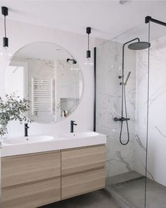 Bathroom design trends - Marble Bathroom With Wood Grain Modern Bathroom Bathroom Renovations Small Small Renovations Walk In Shower Wet Room Set Up Latest Bathroom Designs, Modern Bathroom Design, Bathroom Interior Design, Modern Marble Bathroom, Modern Bathroom Lighting, Bathroom Design Layout, Bathroom Mirror Lights, Tile Layout, Modern Bathrooms