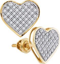0.25ctw Diamond 10K Yellow Gold Heart Pushback Stud Earrings