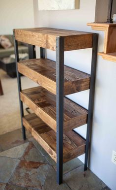 Bookshelf created out of a recycled pallet and repurposed wood. Unique design pattern adding charm and intrigue to your home. A total conversation starter! Metal legs add to the industrial style and heft, giving it a solid feel and deign piece for that empty space in your home or