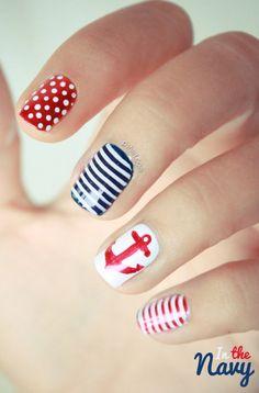 nautical nails, navy nails, great nails for homecoming! Nail Art Diy, Cool Nail Art, Cute Nails, Pretty Nails, Gorgeous Nails, Sailor Nails, Nail Art Designs, Nautical Nail Art, Nautical Theme