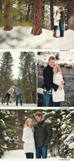 Kisses Amidst the Evergreens - {Brianne and Colin's Missoula Engagement Session} - Kristine Paulsen Couple Photography Poses, Winter Photography, Love Photography, Engagement Photography, Engagement Session, Engagements, Save The Date Pictures, Cute Couple Pictures, Winter Engagement Photos