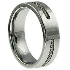 Corvus Silver Cable Band Stainless Steel Metal Inlaid 7mm