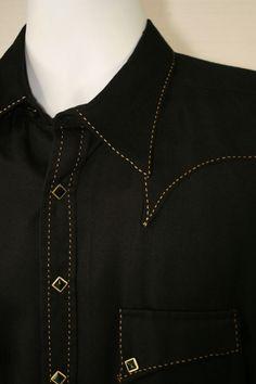 Rockmount Ranch Wear USA Mens M 44 Black Western Shirt Diamond Snap Buttons 2836 Mens Printed Shirts, Men's Shirts, Black Plaid, Black Men, Navy Blue Dress Shirt, Boys Kurta Design, Kurta Men, Mens Kurta Designs, Cowboy Gear