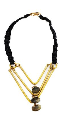 De Petra signature chevron hand hammered brass necklace with labradorite, perfect for layering  www.depetra.com opening november